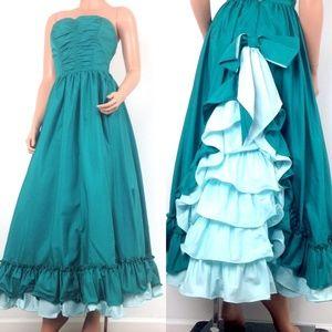 VTG teal turquoise ruffled strapless prom dress